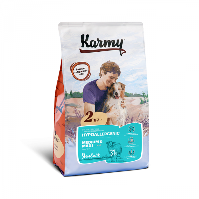 Корм Karmy Hypoallergenic Medium для собак средних и крупных пород с ягненком, 2 кг