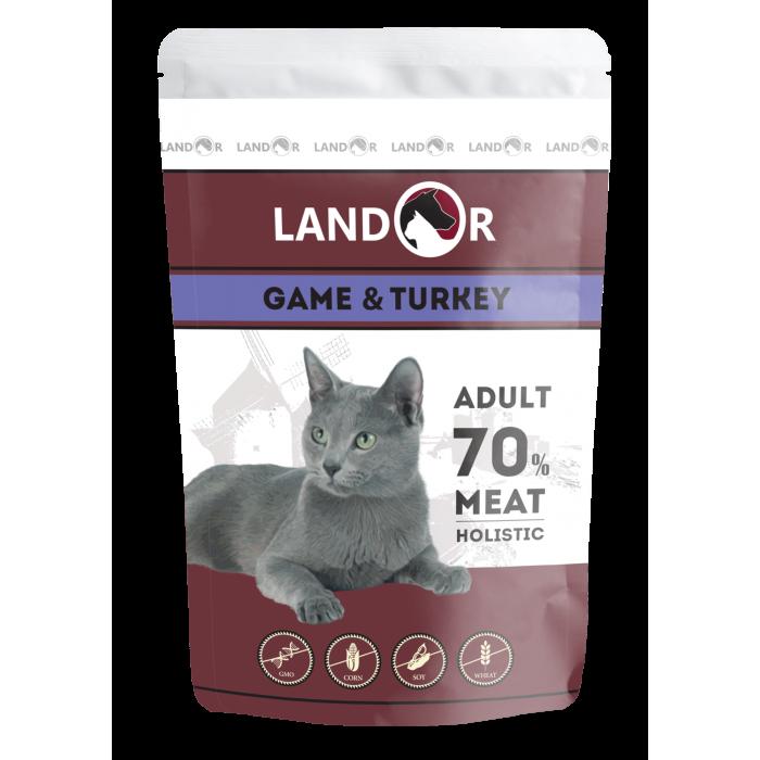 Корм Landor для кошек куропатка с индейкой, 85 г