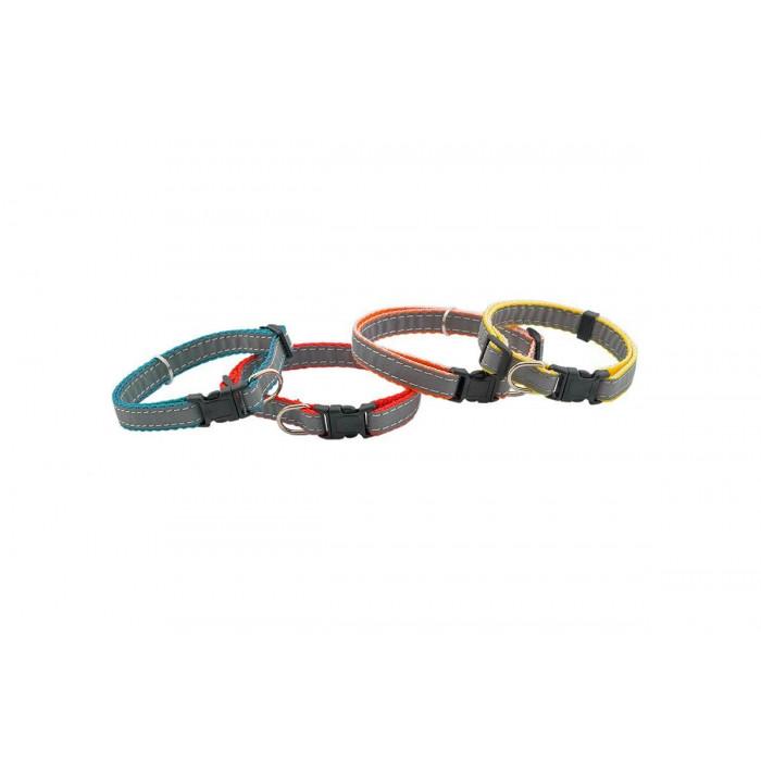 Ошейник синтетический ЧИП светоотражающий плотный, 10мм 19-32см, красный