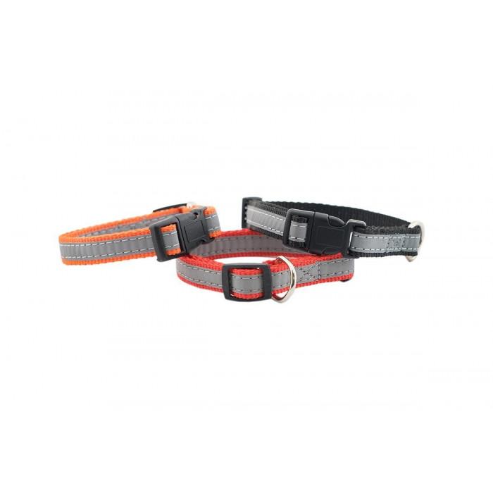 Ошейник синтетический ЧИП светоотражающий плотный, 15мм 25-36см, оранжевый