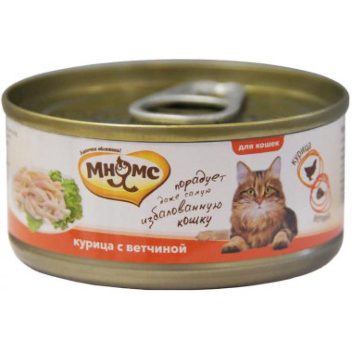 Корм Мнямс консервы для кошек Курица с ветчиной в нежном желе, 70 г