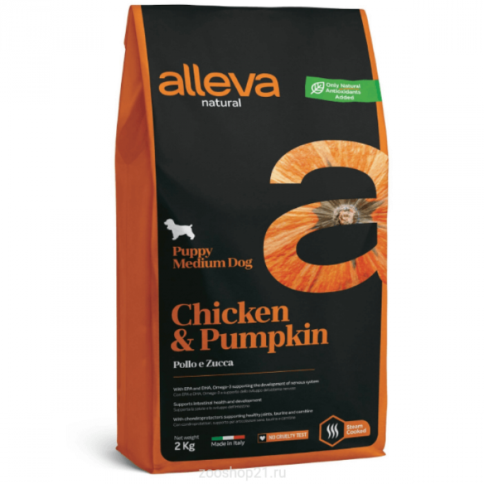 Корм Alleva Natural Puppy Medium Chicken & Pumpkin для щенков средних пород курица и тыква, 2 кг