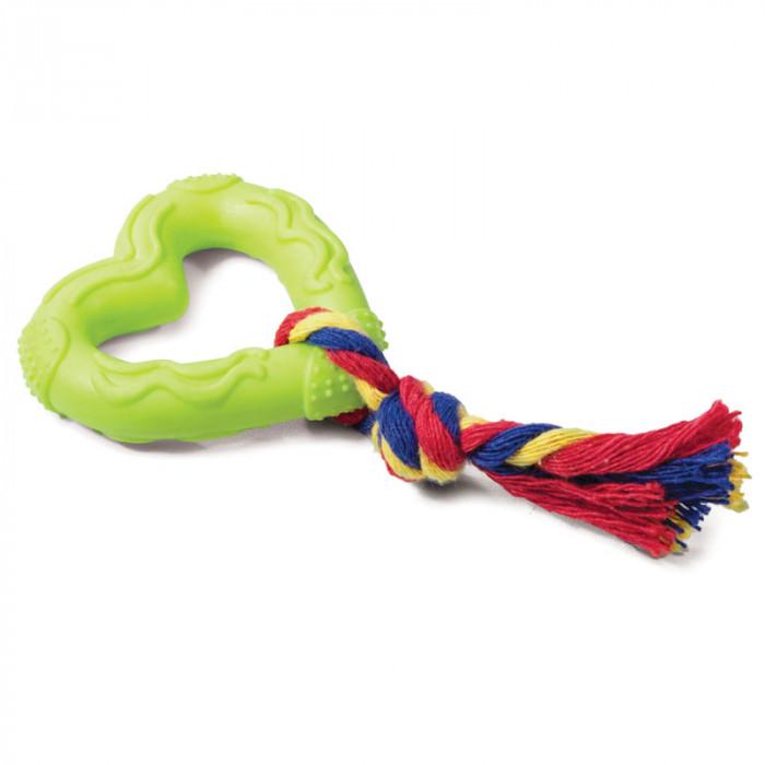 """Игрушка для собак из ц/литой резины """"Сердечко с веревкой"""", 70/150мм"""