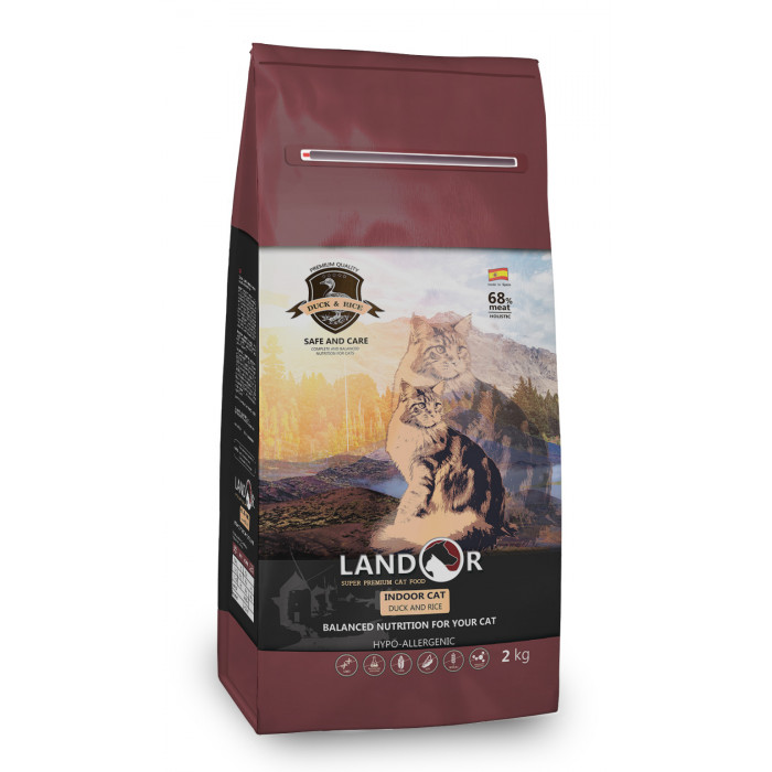 Корм Landor Indoor Cat для кошек живущих в помещении утка с рисом, 2 кг