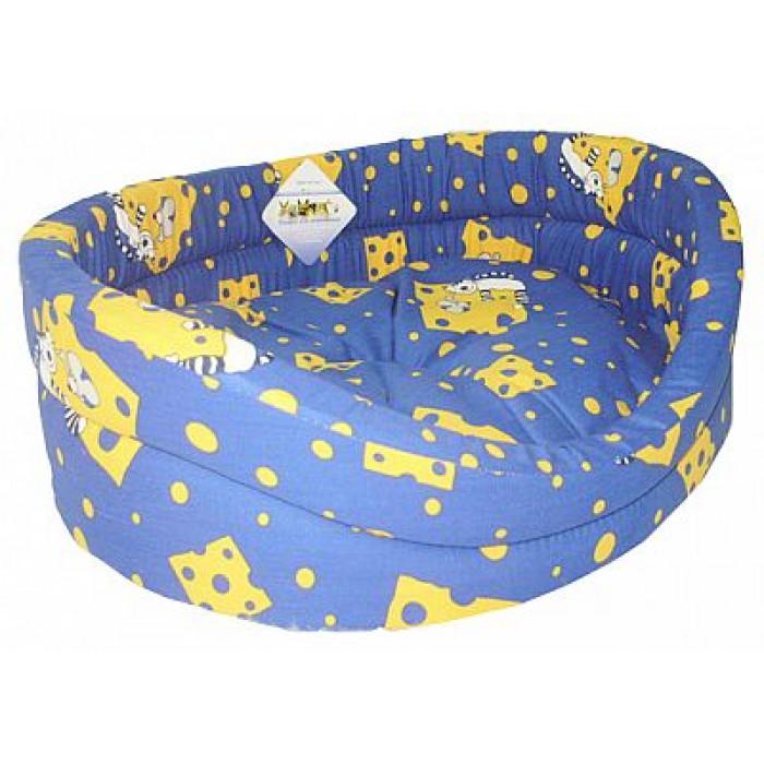"""Лежак для животных Бобровый дворик """"Эксклюзив №2"""", синий, 49 х 38 х 16 см"""
