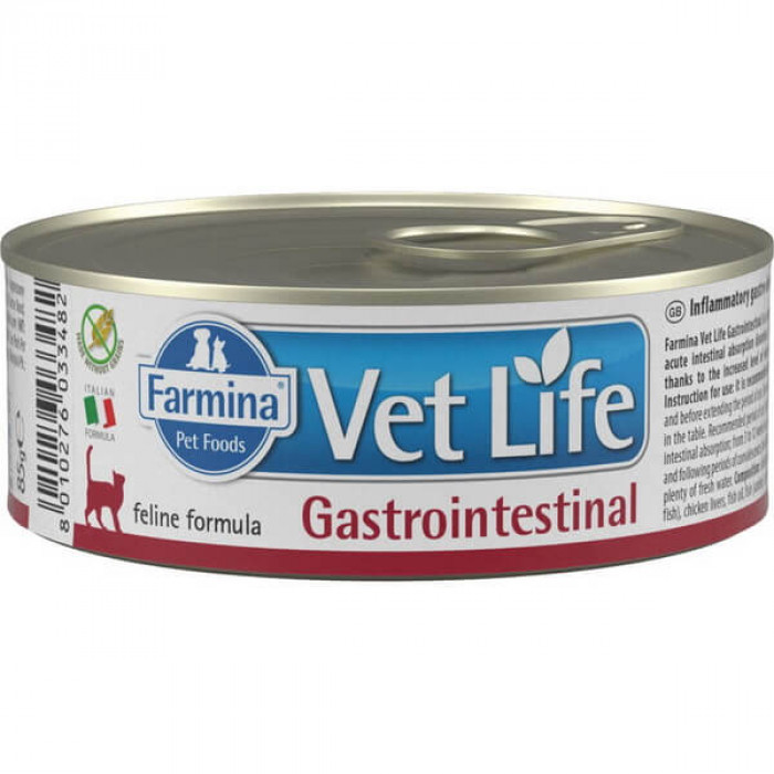 Корм Farmina Vet Life Gastrointestinal (паштет) для кошек при заболеваниях ЖКТ, 85 г