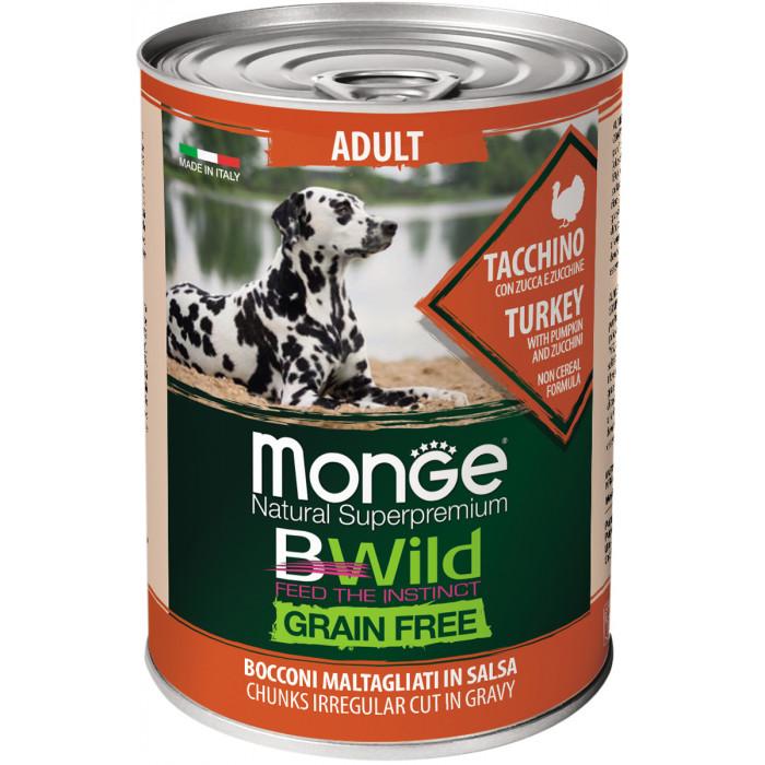 Корм Monge Dog BWild GRAIN FREE беззерновые консервы из индейки с тыквой и кабачками для взрослых собак всех пород 400г