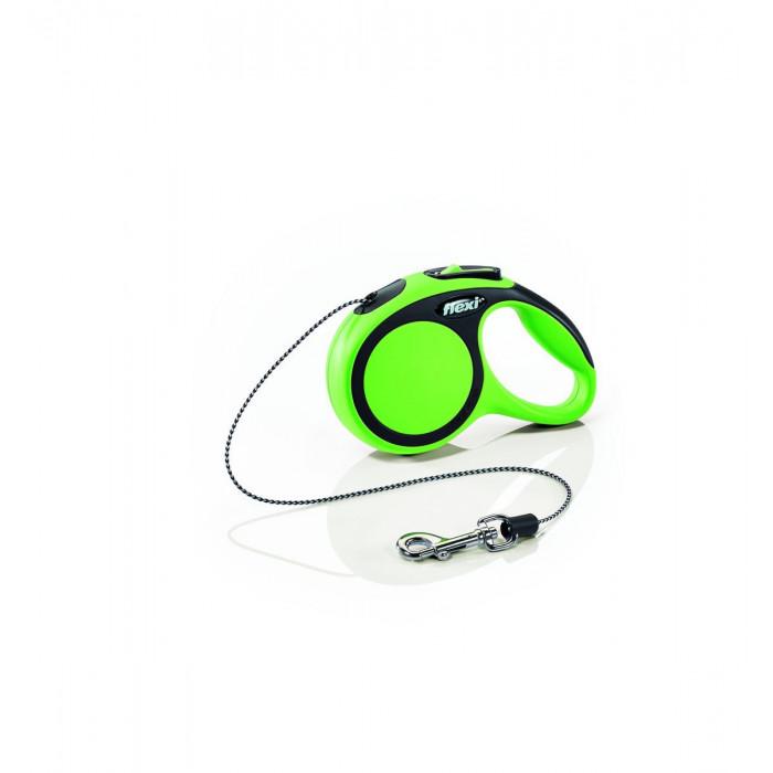 """Поводок-рулетка Flexi """"New Comfort XS"""", трос для собак, до 8 кг черный/зеленый 3 м"""