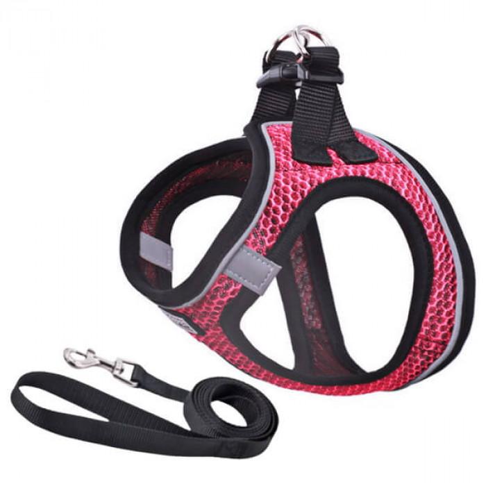 Комплект шлейка и поводок сетчатый размер S (обхват груди 30-35 см) бордовый