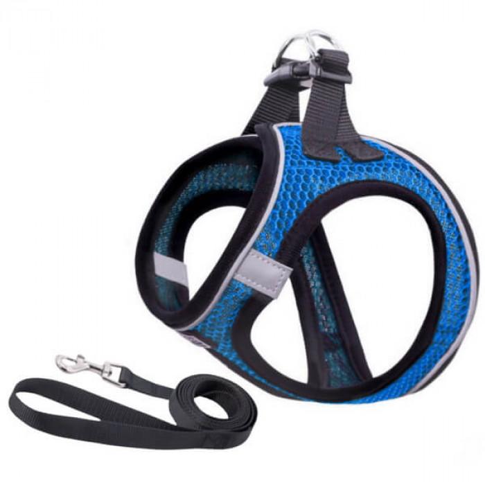 Комплект шлейка и поводок сетчатый размер XS (обхват груди 26-30 см) синий
