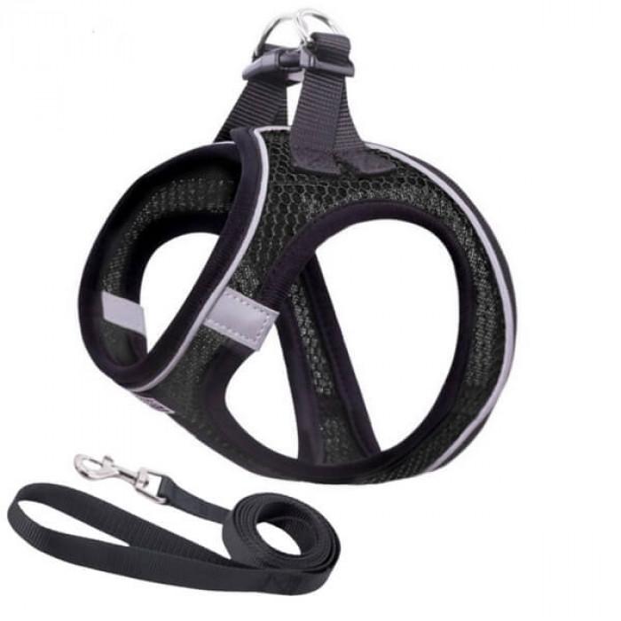 Комплект шлейка и поводок сетчатый размер L (обхват груди 43-49 см) черный