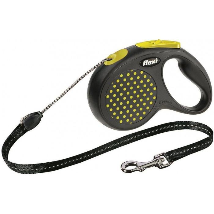 """Поводок-рулетка Design S """" трос для собак, до 12 кг черный/желтый горох 5 м"""