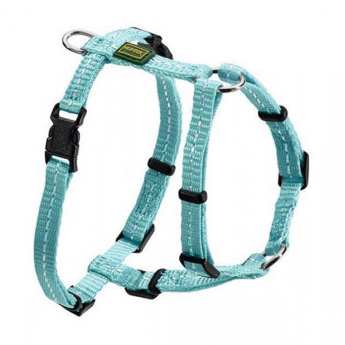 Hunter шлейка для собак Tripoli 32-44 см, нейлон голубая, светоотражающая
