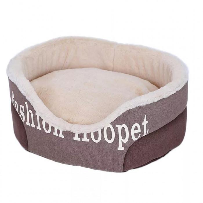 Лежак Fashion Hoopet, с вынимающейся подушкой, цвет коричневый, размер М (50х43х20см)