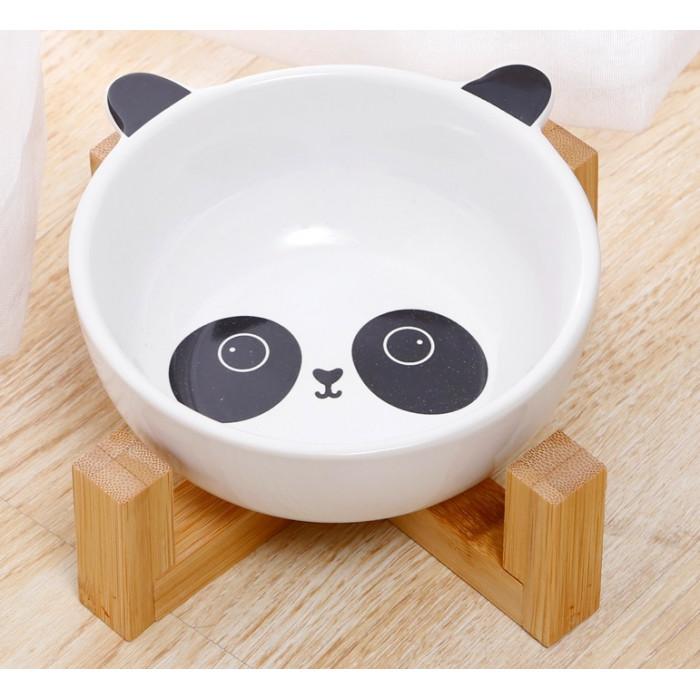 Керамическая миска «Панда» на бамбуковой подставке, 480мл
