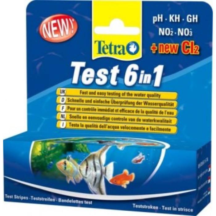 TetraTest 6 в 1 GH/KH/NO2/NO3/pH/Cl полоски для пресной воды 25 шт