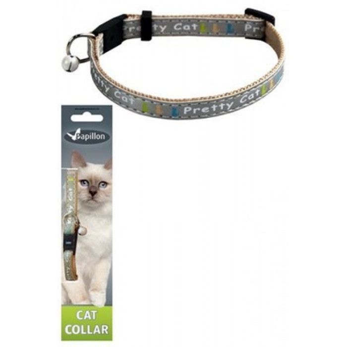 "Papillon Ошейник для кошек ""Китти"" 10мм-21-33см, серый"