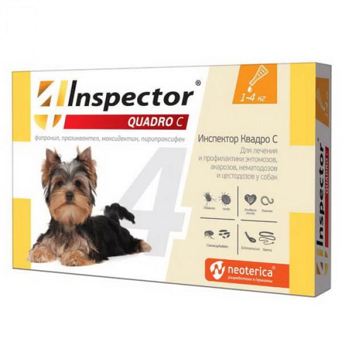 Inspector Quadro Капли от внешних и внутренних паразитов для собак, (от 1 до 4 кг) 1 пипетка