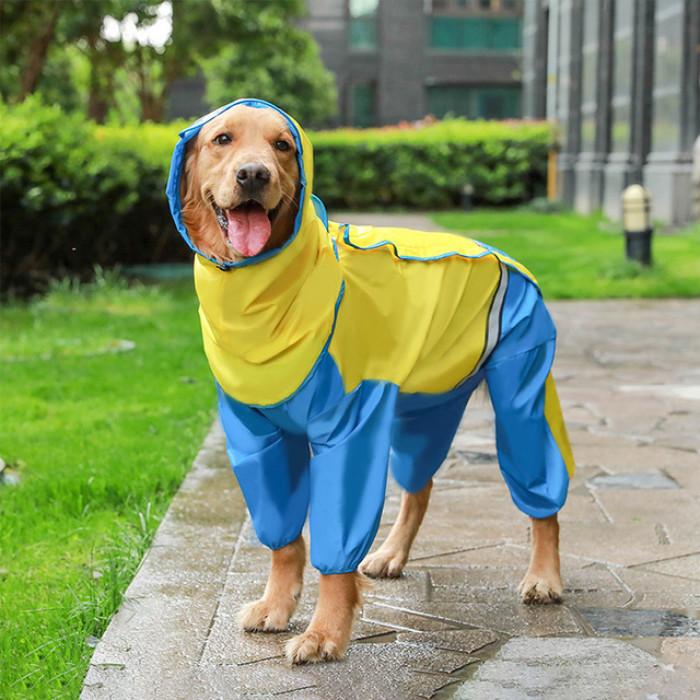 Дождевик для собак Hoopet с капюшоном, со светоотражающей вставкой, размер L (длина спины 32-37 см)