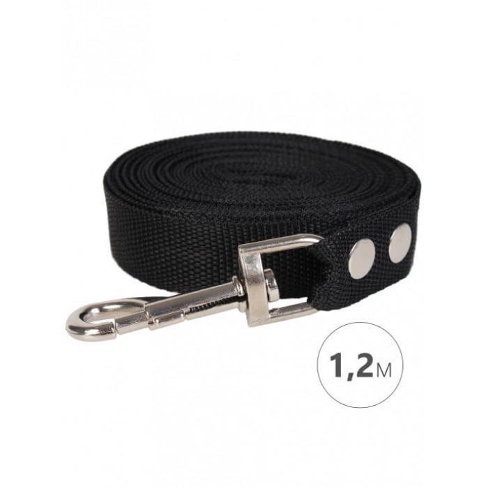 Поводок для собак Perseiline капрон, 1.2 метра ширина 20мм черный