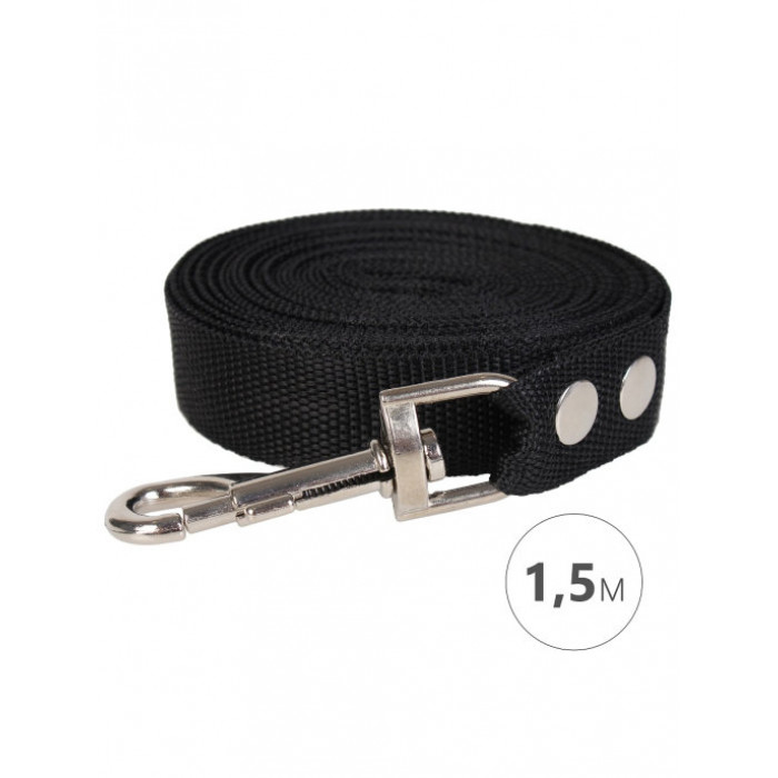Поводок для собак Perseiline капрон, 1.5 метра ширина 25мм черный