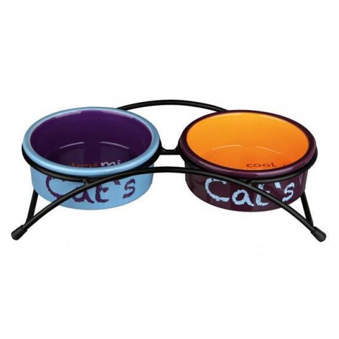 Trixie Миски керамические на подставке, 2х0,3л, 12 см (голубой, оранжевый, фиолетовый), 0,5 кг