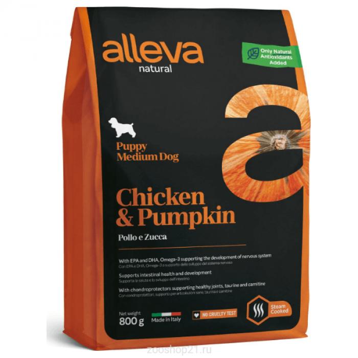 Корм Alleva Natural Puppy Medium Chicken & Pumpkin для щенков средних пород курица и тыква, 800 г
