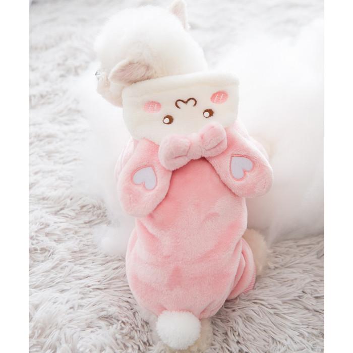 Комбинезон из плюшевого меха, цвет розовый, размер S (длина спины 25 см)