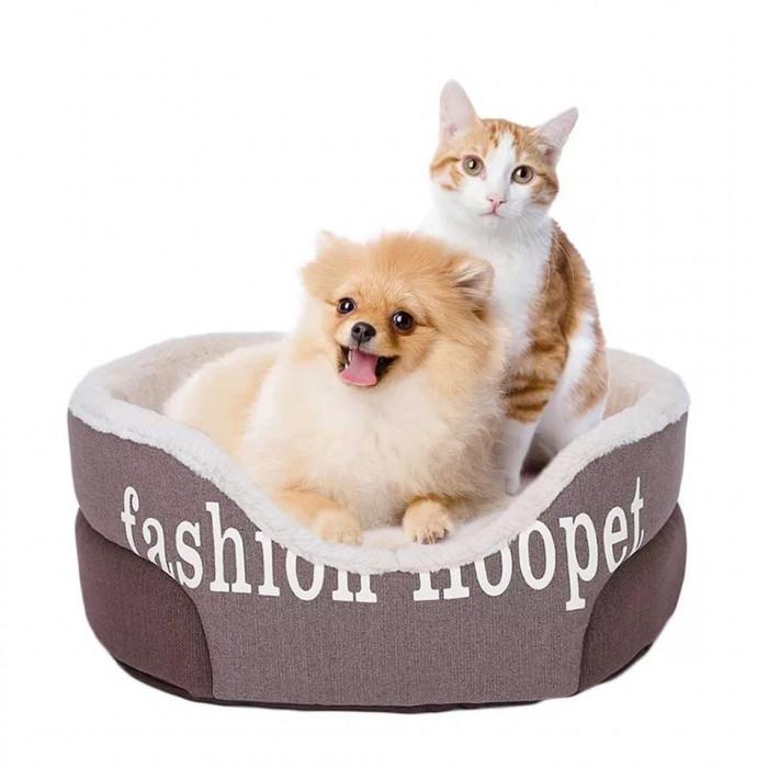 Лежак Fashion Hoopet, с вынимающейся подушкой, цвет коричневый, размер S (45x38x18см)