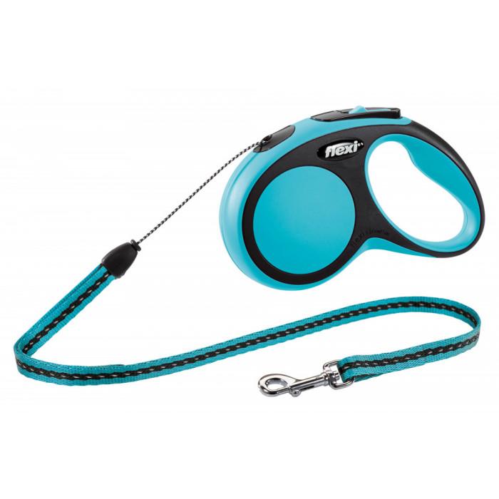"""Поводок-рулетка FLEXI NEW COMFORT S"""" трос для собак, до 12 кг черный/синий 5 м"""