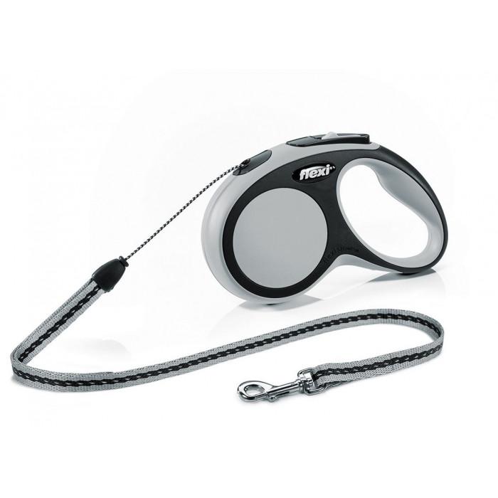 """Поводок-рулетка FLEXI NEW COMFORT S"""" трос для собак, до 12 кг черный/антрацит 5 м"""