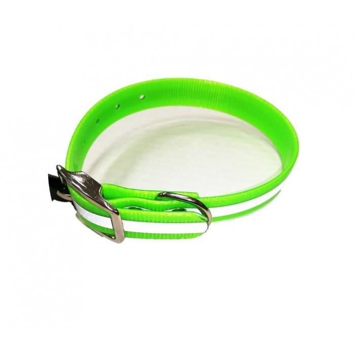 Ошейник из биотана зеленый со светоотражающей полосой шир. 25мм, обх. шеи. 44-56,5 см