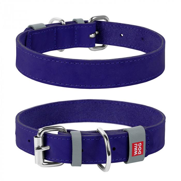 COLLAR ошейник Waudog Classic кожа, металлическая пряжка (шир.25мм, дл.38-49см) фиолетовый