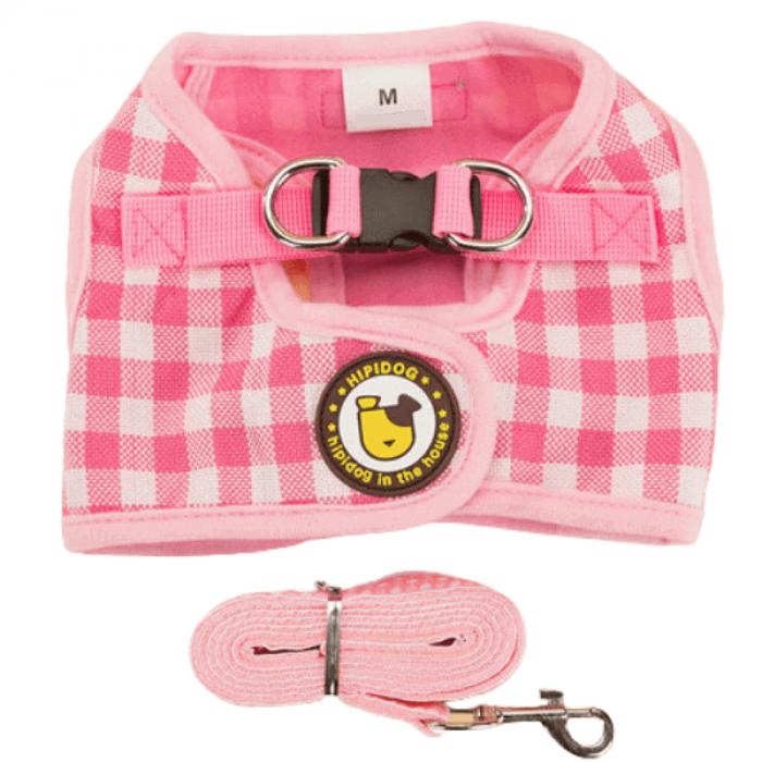 Комплект шлейка и поводок в клетку, размер L (обхват груди 44 см) розовый