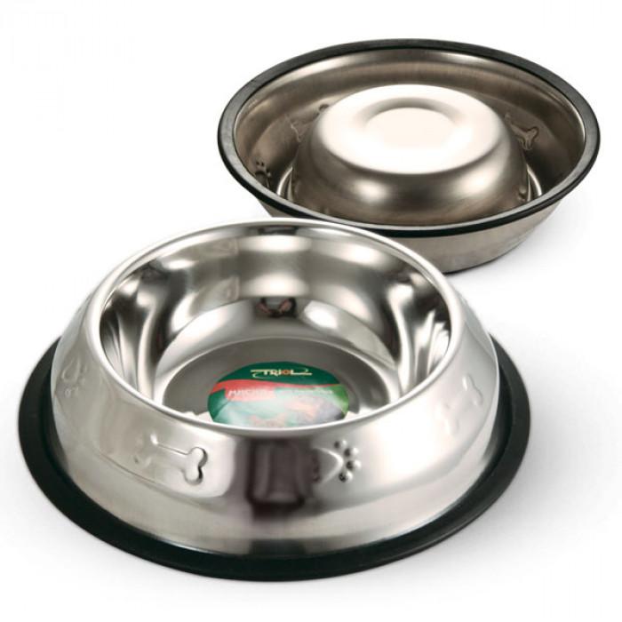 Миска 1552 металлическая на резинке с тиснением, 0,20л