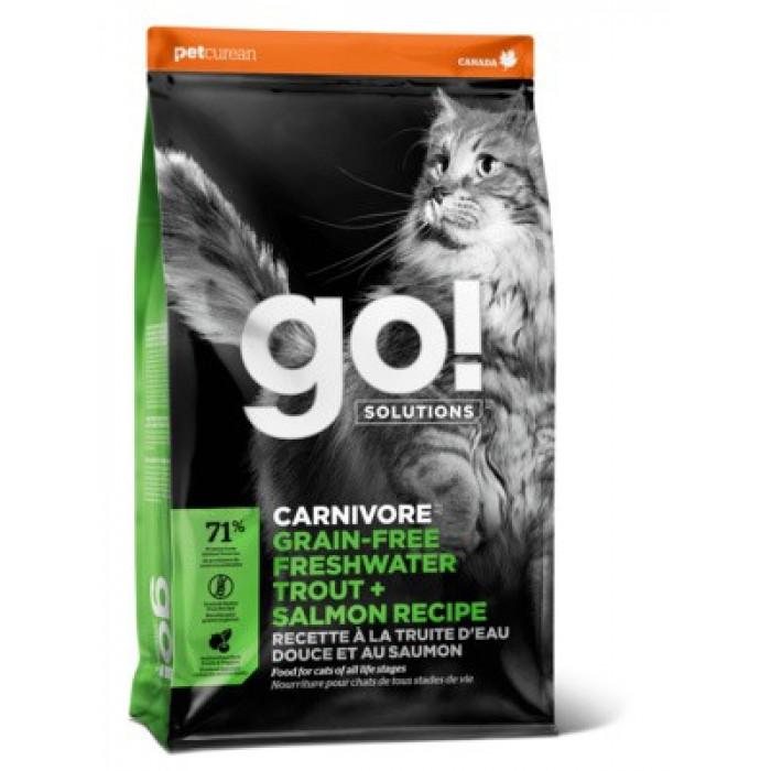 Корм Go! CARNIVORE Grain-Free Freshwater Trout + Salmon Recipe (беззерновой) для кошек с чувствительным пищеварением форель и лосось, 1.36 кг