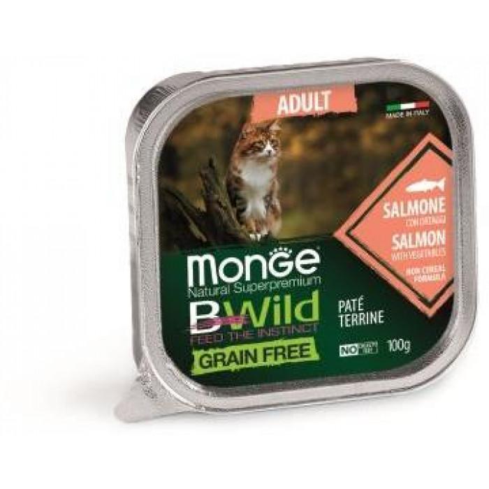Корм Monge Cat BWild GRAIN FREE беззерновые консервы из лосося с овощами для взрослых кошек, 100 г