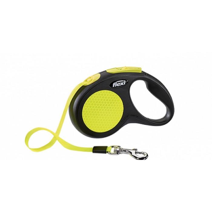 """Поводок-рулетка Flexi """"Neon New Classic S"""" лента для собак, до 15 кг 5 м черный/неон"""