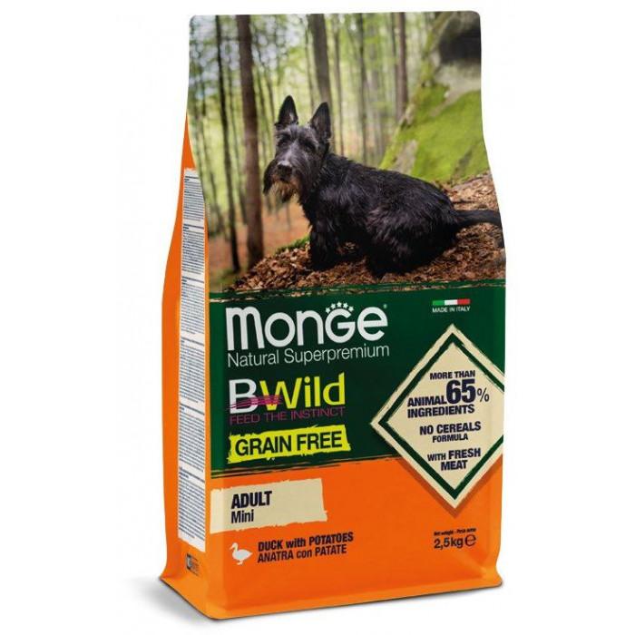 Корм Monge Dog BWild GRAIN FREE Mini беззерновой корм из мяса утки с картофелем для взрослых собак мелких пород 2,5 кг