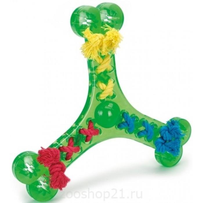 """Игрушка для собак """"Бумеранг украшенный веревками"""", 24 см"""