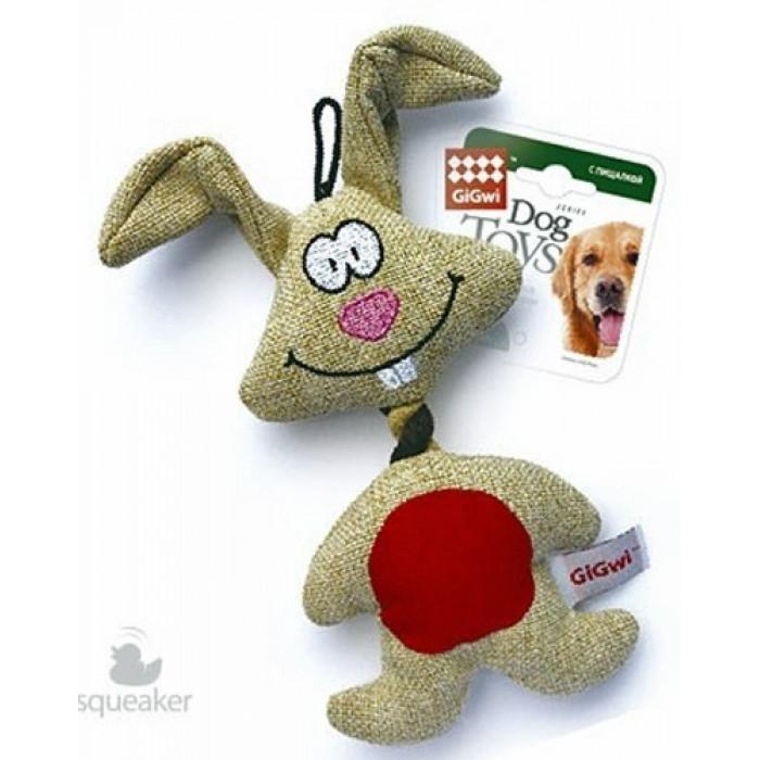 """GiGwi Игрушка для собак """"Заяц"""" с пищалкой, 20 см"""