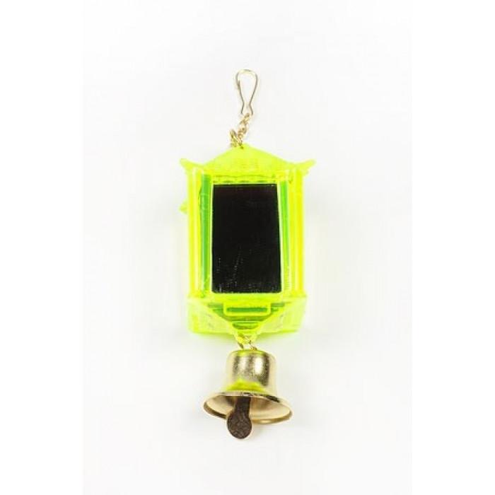 """Игрушка для птиц """"Фонарик зеркальный с колокольчиком"""", 10x3,5 см"""