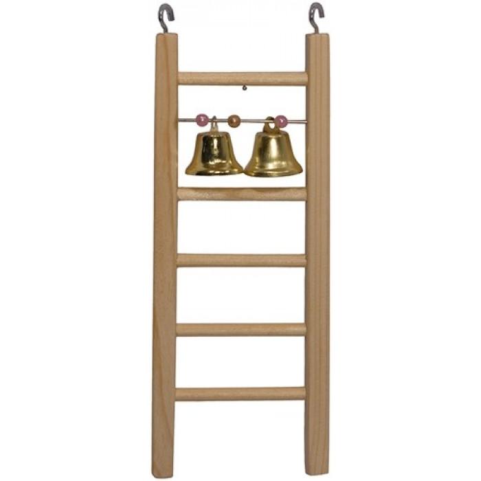 """Лесенка для птиц """"Дарэлл"""" деревянная, с бусами и колокольчиком, 71х20х95 мм"""