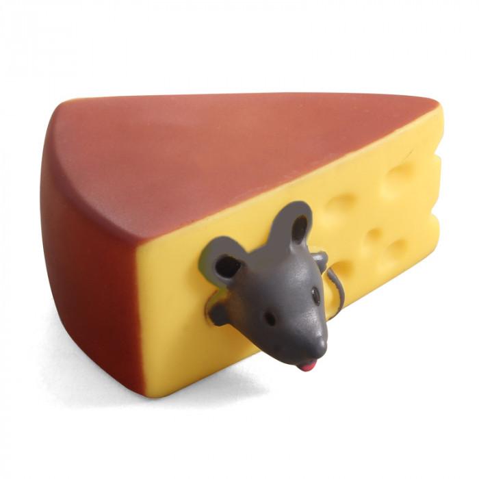"""Игрушка для собак из винила """"Мышка в сыре"""", 100мм"""