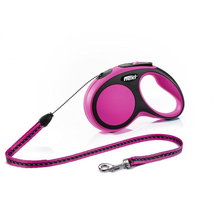 """Поводок-рулетка FLEXI NEW COMFORT S"""" трос для собак, до 12 кг розовый 5 м"""