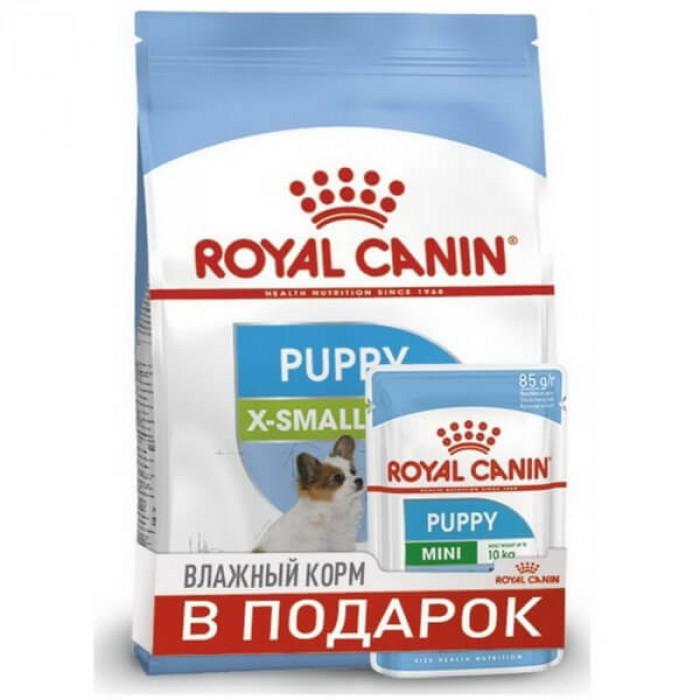 Корм Royal Canin X-Small Puppy для щенков миниатюрных пород 2-10 мес., 500 г + пауч В ПОДАРОК