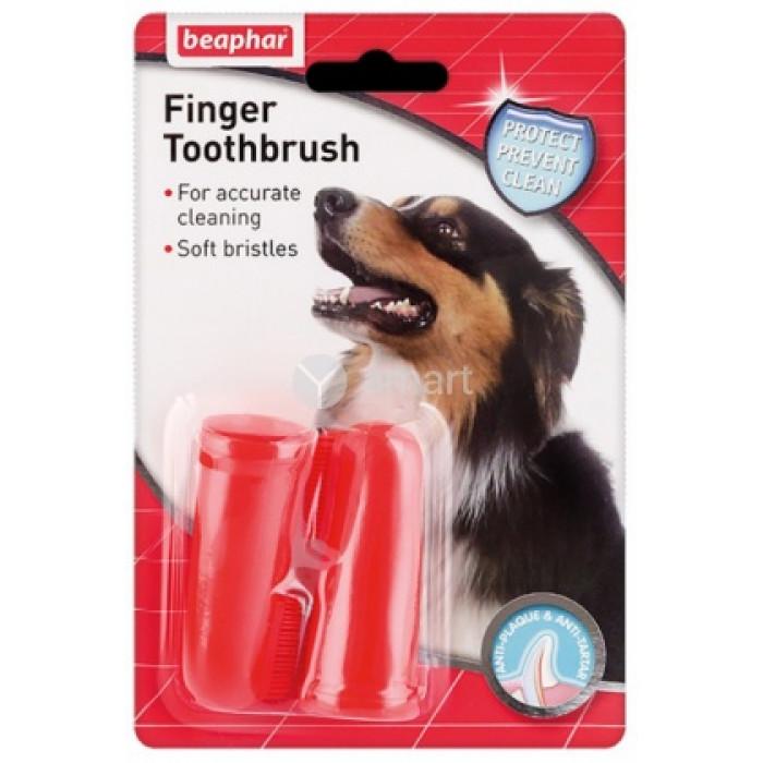 """Beaphar """"Toothbrush"""" зубная щетка на палец двойная для собак всех размеров, цвет в ассортименте"""