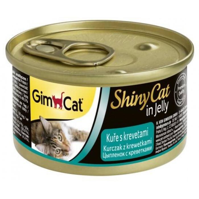 Консервы GimCat ShinyCat для кошек из цыпленка с креветками 70 г