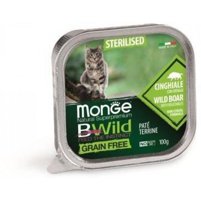 Корм Monge Cat BWild GRAIN FREE беззерновые консервы из кабана с овощами для стерилизованных кошек, 100 г