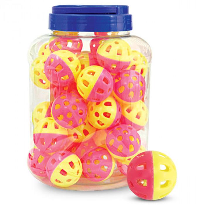 """Игрушка для кошек """"Мяч-погремушка"""", желто-розовый, d35мм, за 1шт"""